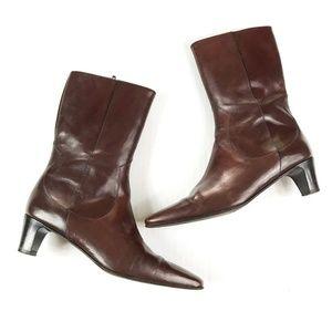 Cole Haan Mid Calf Zip up Brown Heel Boots 6